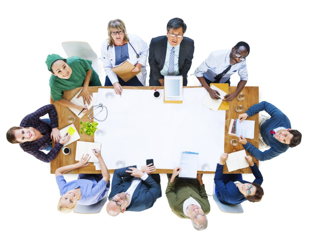 Group of People with Various Occupations in a Meeting